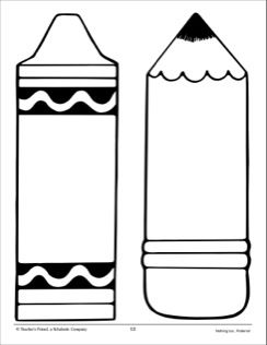 Crayon and Pencil: Large Pattern | school activities ... clipart freeuse library