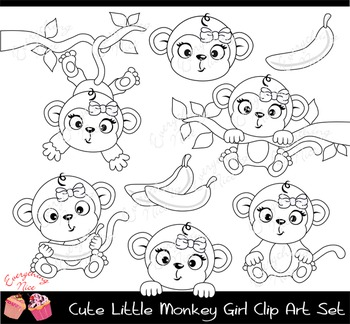 Cute black and white little girl clipart clip free stock Cute Little Gray Monkey Girl Clipart Set clip free stock