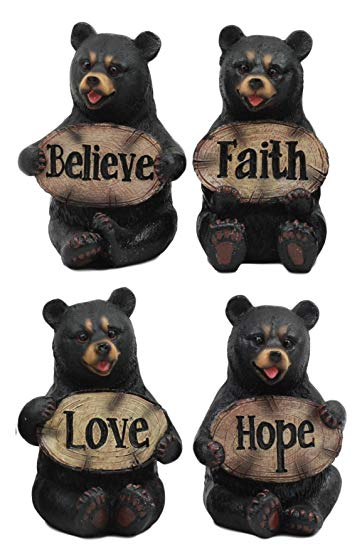 Cute black bear clipart clip art freeuse stock Ebros Set of Four Inspirational Bears Statues Whimsical Cute Black Bear  Holding Love Believe Faith and Hope Sign Plaque Small Figurines Western  Decor ... clip art freeuse stock