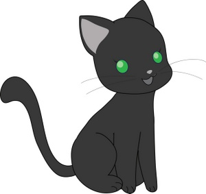 Cute black cat with green eyes clipart picture black and white download Free Kitten Clipart Image 0071-0804-1517-0748 | Cat Clipart picture black and white download