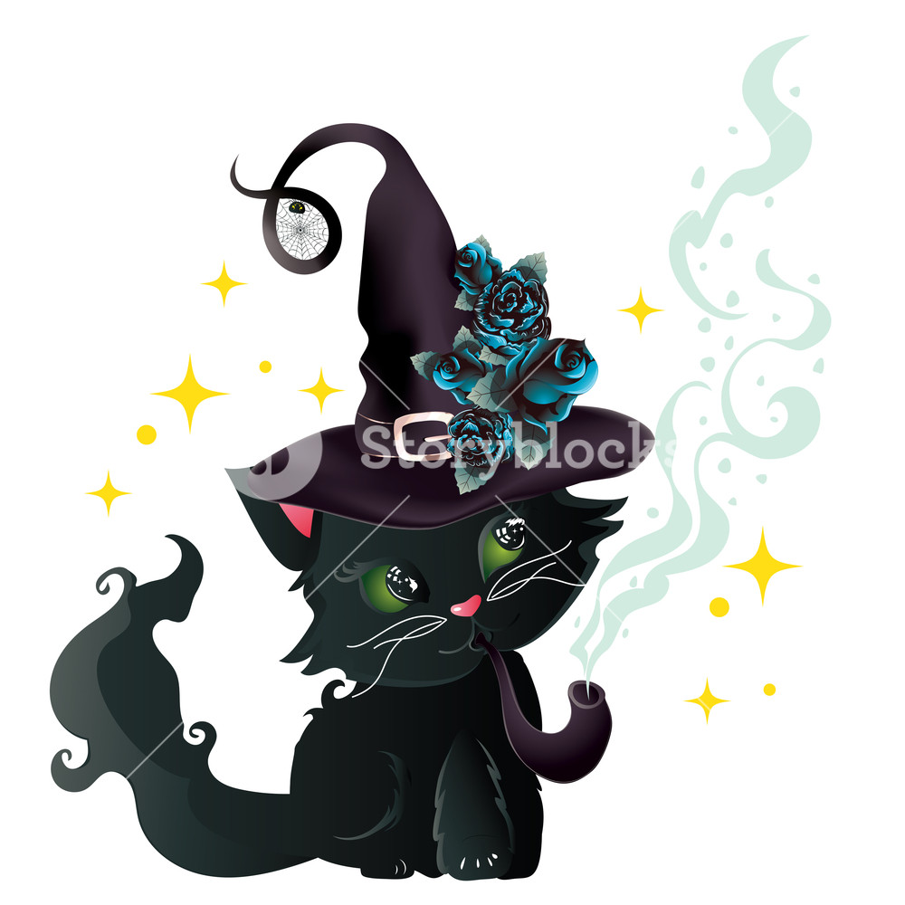 Cute black cat with green eyes clipart clip freeuse Cute black kitten with green eyes in witch hat with blue roses ... clip freeuse
