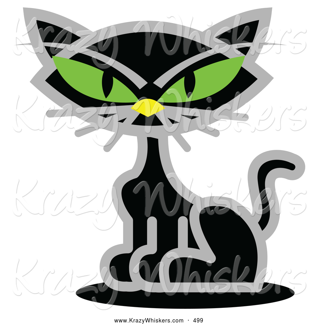 Cute black cat with green eyes clipart clip royalty free library Critter Clipart of a Creepy Black Cat with Piercing Green Eyes by ... clip royalty free library