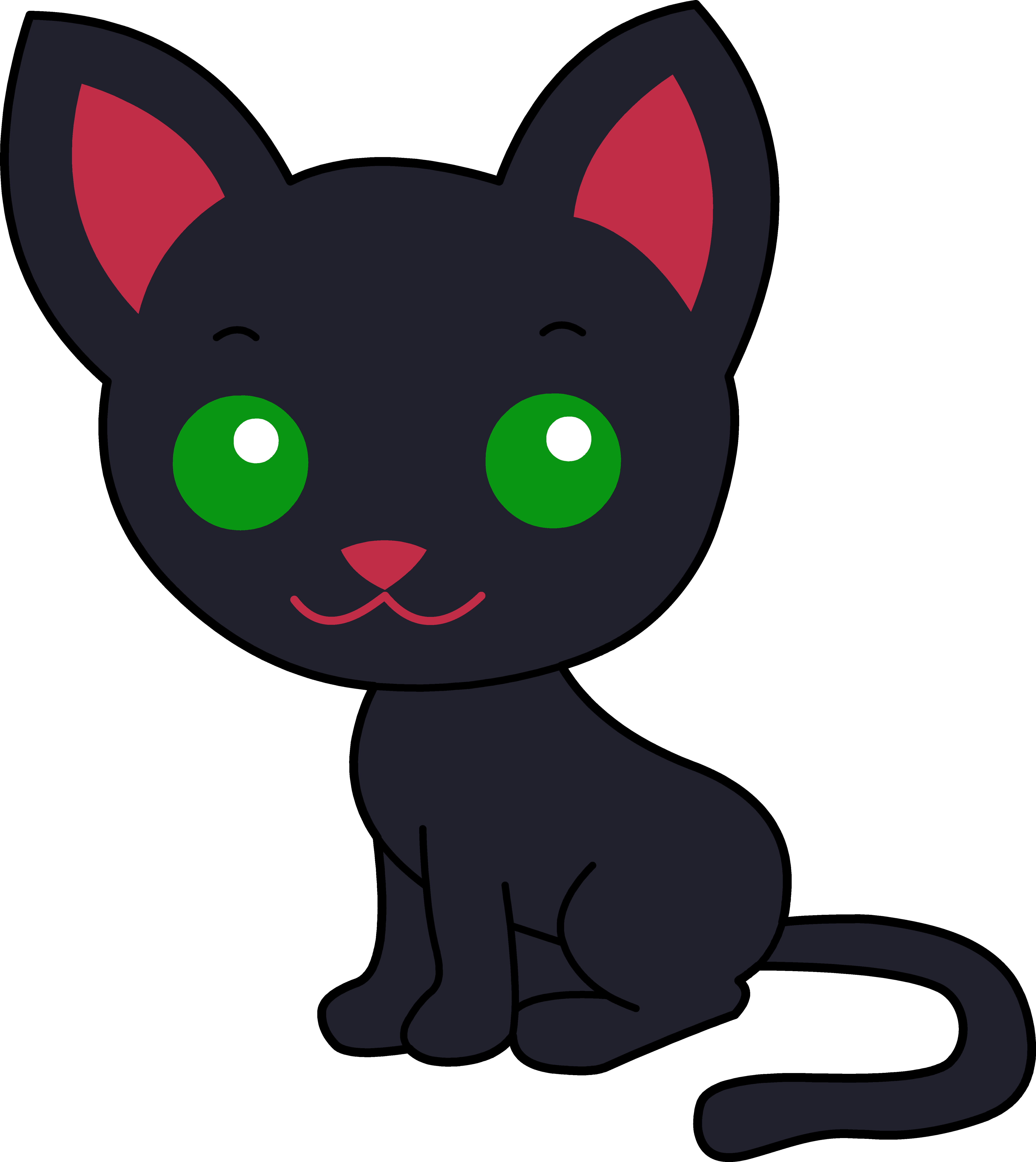 Cute black cat with green eyes clipart royalty free Cute Black Kitty Cat - Free Clip Art royalty free