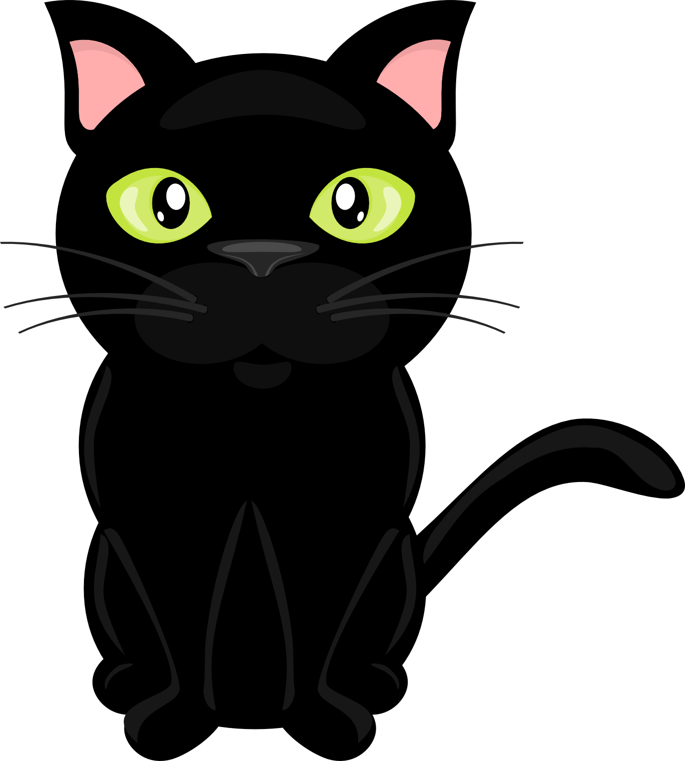 Cute black cat with green eyes clipart svg black and white On The Farm Clip-Art | Black cat silhouette,tatoos | Cat clipart ... svg black and white