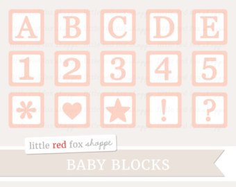 Cute block clipart clipart black and white library Baby block clipart | Etsy clipart black and white library