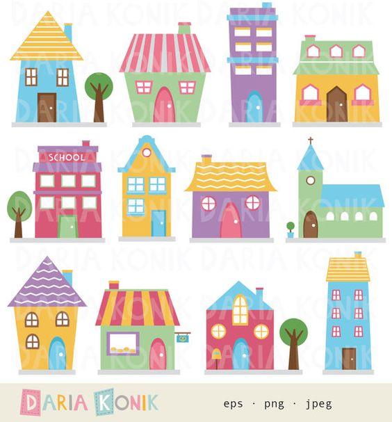 Cute block clipart image stock Casas Clip Art Set - casas Prediseñadas, lindas casas, barrio ... image stock