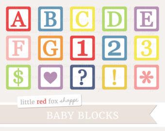 Cute block clipart clipart transparent library Baby block clipart | Etsy clipart transparent library