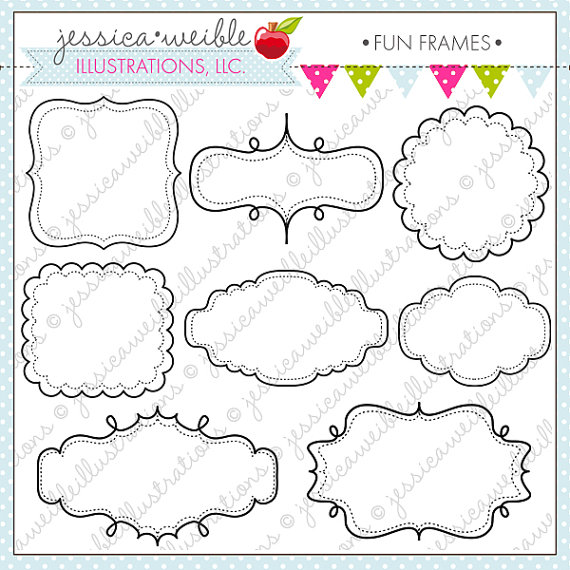 Cute block clipart royalty free download Fun Frames - Cute Frame Clipart - Commercial Use OK - Digital ... royalty free download