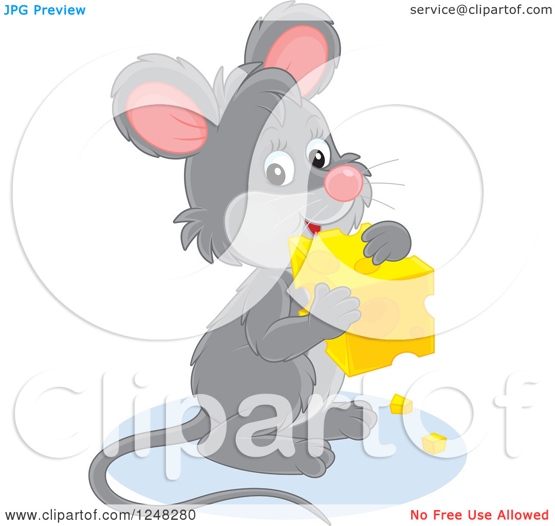 Cute block clipart. Of a gray mouse