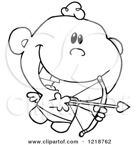 Cute bow arrow jpg clipart royalty free stock Clipart of an Outlined Cute Happy Cupid Holding a Bow and Arrow ... royalty free stock