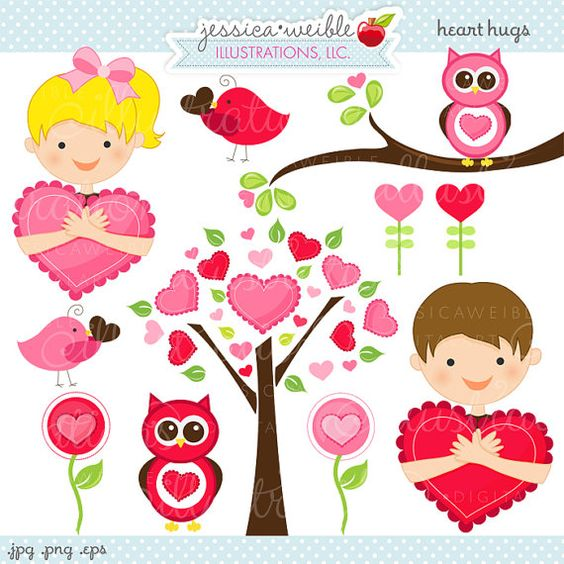 Cute boy valentine clipart graphic Heart Hugs Cute Valentine Graphics - Commercial Use OK - Kids ... graphic