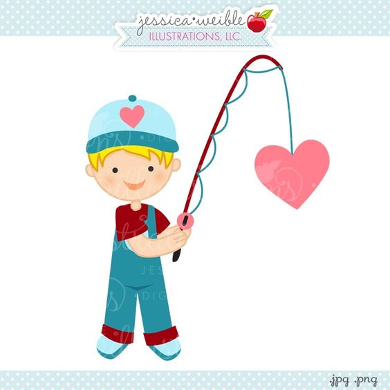 Cute boy valentine clipart svg freeuse library Fishing for Your Heart Boy - JW Illustrations - cute fishing boy ... svg freeuse library