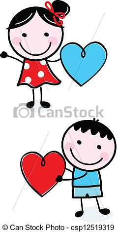 Cute boy valentine clipart clipart transparent library Vector Clip Art of Cute stick figure Kids holding Valentine's Day ... clipart transparent library