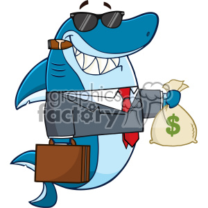 Cute briefcase of money clipart for kids clip art free library Smiling Business Shark Cartoon In Suit Carrying A Briefcase And Holding A  Money Bag Vector clipart. Royalty-free clipart # 402891 clip art free library