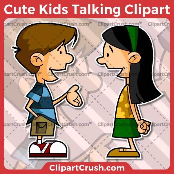 Cute cartoon kids clipart jpg royalty free Cartoon Kids Talking Clipart jpg royalty free