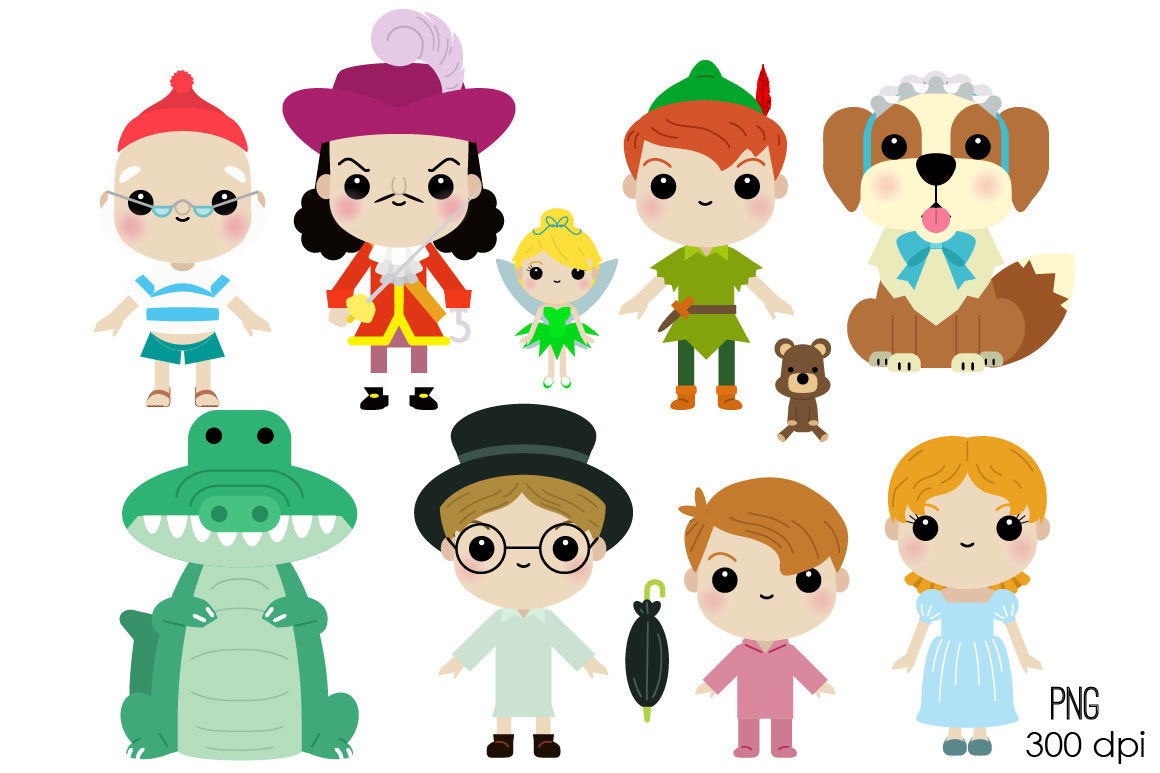 Cute character clipart clip free stock Cute Peter Pan Characters Clipart By laias | TheHungryJPEG.com clip free stock