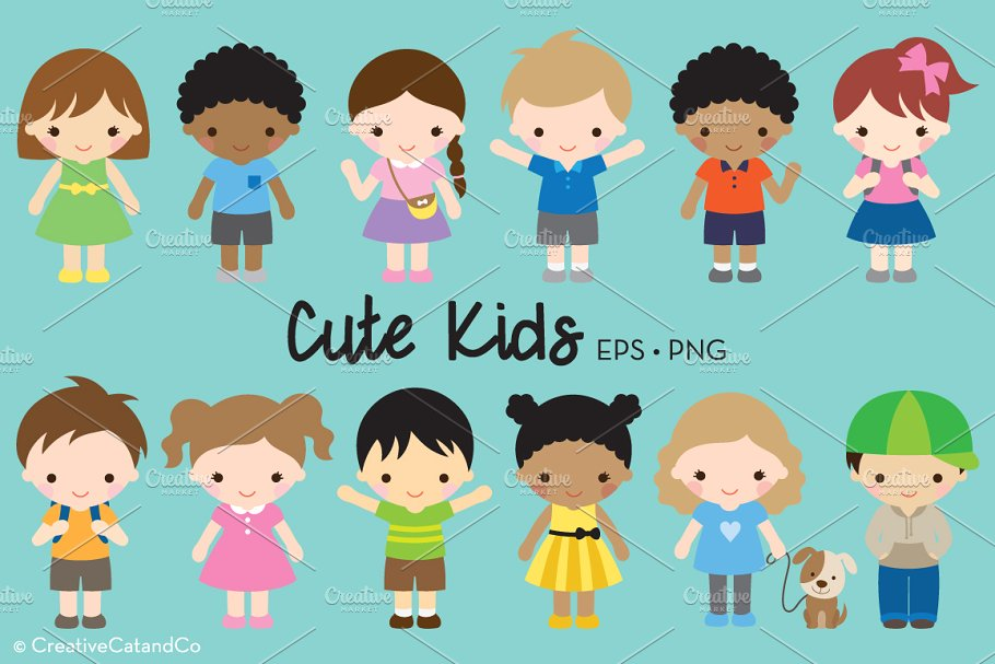 Cute character clipart graphic transparent download Kid Children Character Clipart ~ Illustrations ~ Creative Market graphic transparent download