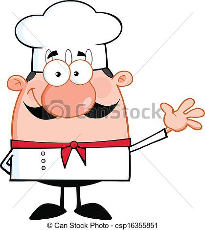 Cute chef clipart clipart free library Clipart Vector of Cute Little Chef Cartoon Character Waving For ... clipart free library