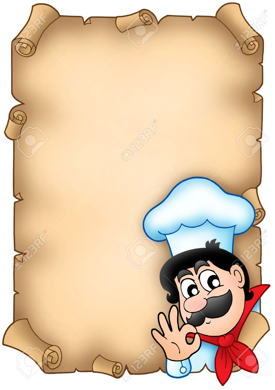 Cute chef clipart vector library download Old Parchment With Cute Chef - Color Illustration. Stock Photo ... vector library download