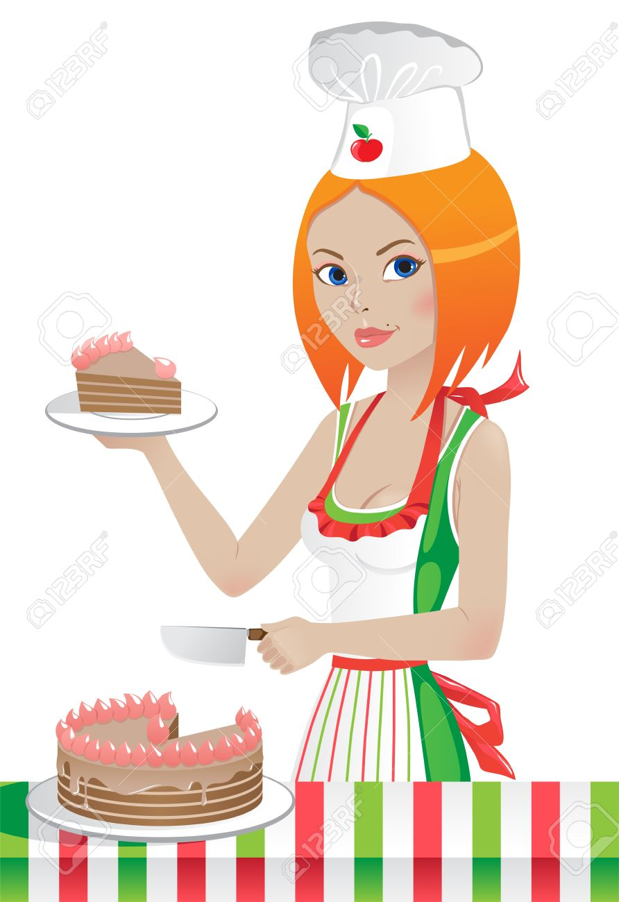 Cute chef woman clipart svg royalty free download Cute Girl In A Chef's Hat Cuts The Cake Royalty Free Cliparts ... svg royalty free download