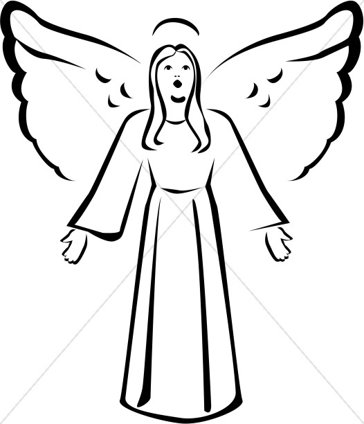 Singing angel clipart clip library download Black and White Singing Angel Clipart | Angel Clipart clip library download