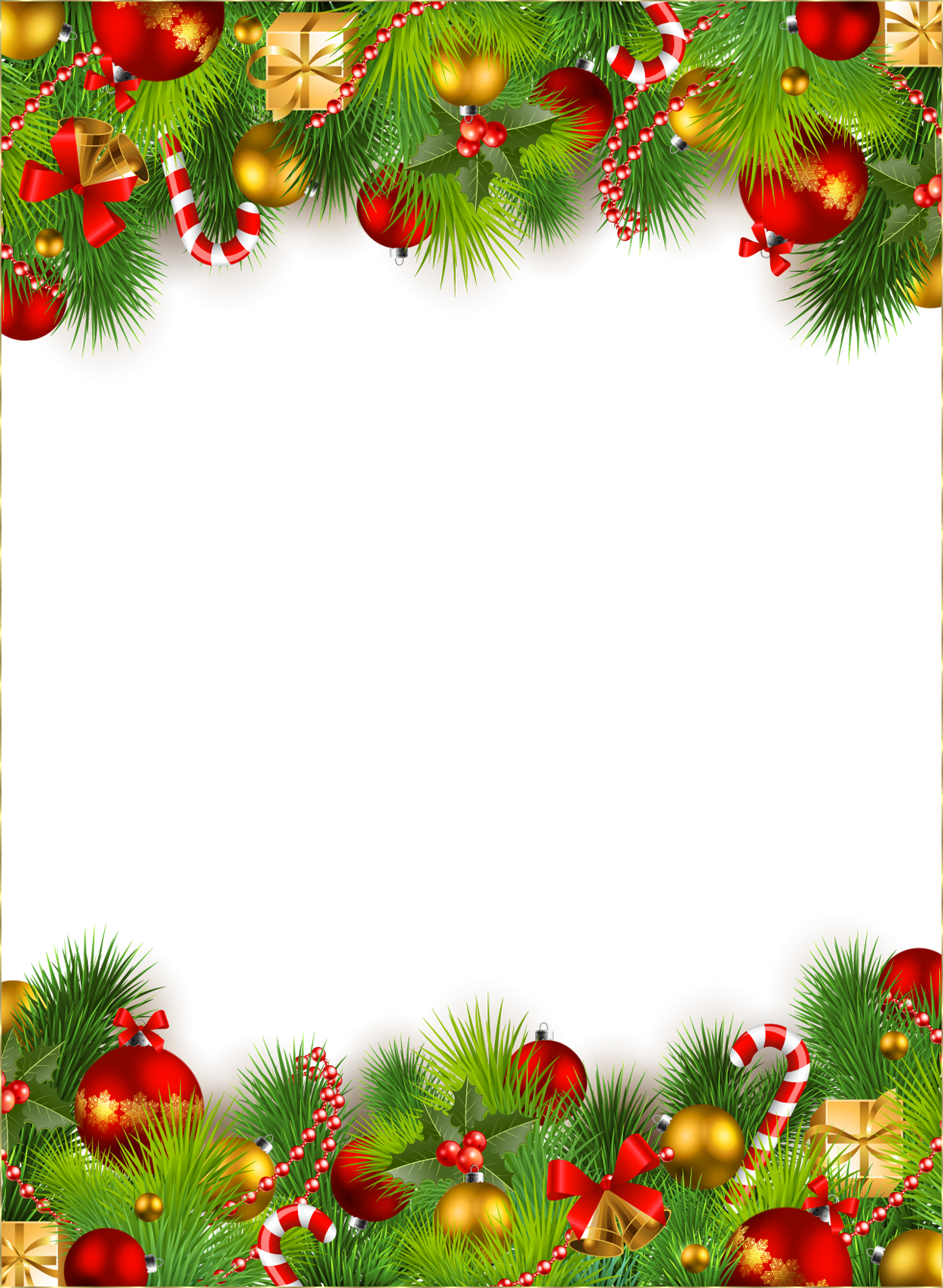 Holiday snowflake clipart border clip freeuse library Cute Christmas PNG Photo Frame with Christmas Ornaments | Gallery ... clip freeuse library