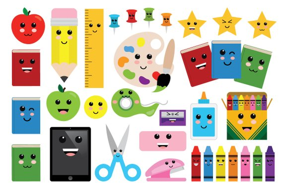 Cute classroom clipart image free Cute Classroom Clip Art | Back to School Art Office Emoji Graphic ... image free