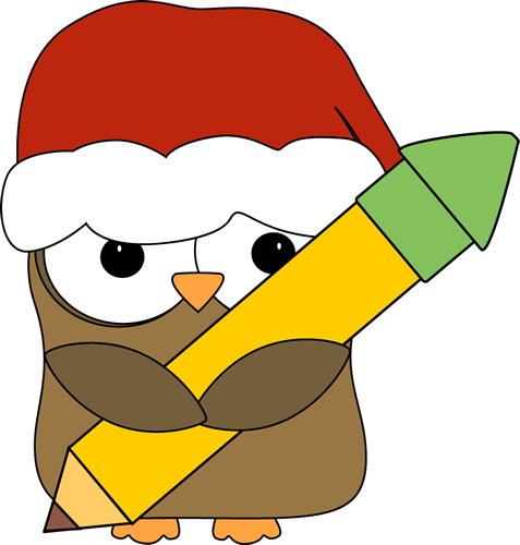 Christmas images owl holding. Cute clip art for teachers