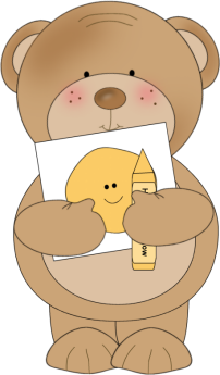 Crayon images coloring bear. Cute clip art for teachers