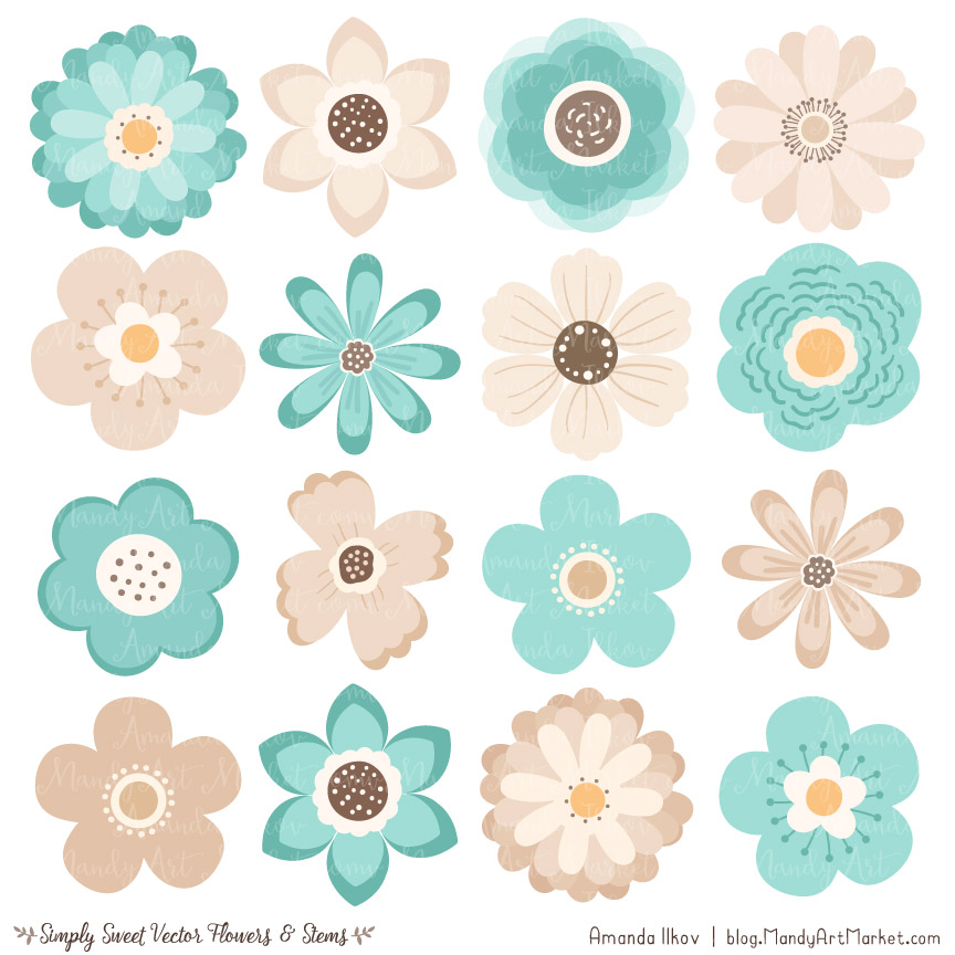 Cute clipart flowers clip art transparent library Aqua Flower Clipart & Vectors clip art transparent library