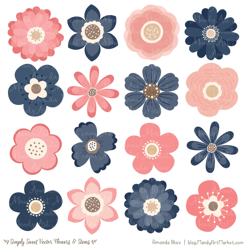 Cute clipart flowers image freeuse download Navy & Blush Flower Clipart & Vectors image freeuse download