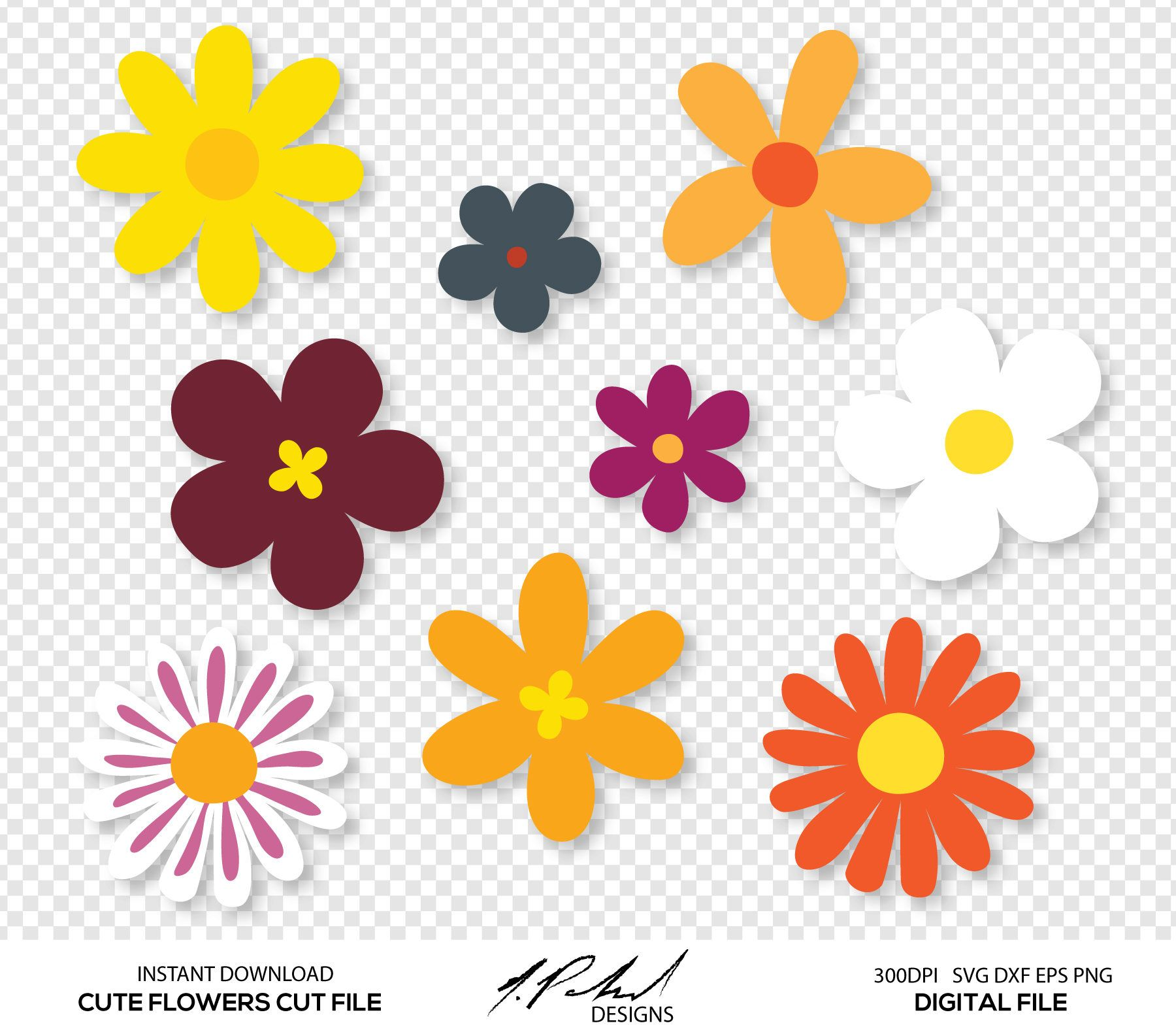 Cute clipart flowers clip art stock Cute Flowers Digital Cut Files - Digital Files - Flower SVG - Flower ... clip art stock
