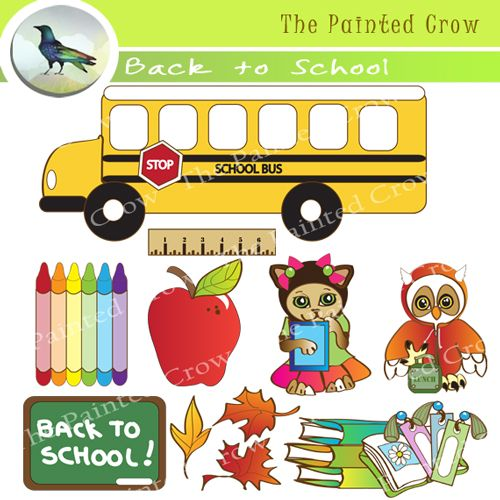 Cute clipart for kindergarten image black and white library Back to School clip art from The Painted Crow, featuring a cute ... image black and white library