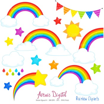 Cute cliparts for scrapbook image library Rainbows Clipart Scrapbook printable Vector clip art .eps rainbow party  clouds image library