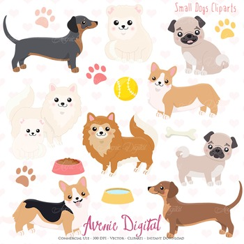 Cute cliparts for scrapbook image freeuse library Cute Dog Clipart. Scrapbook printables, Vector and png Puppy clip art set image freeuse library