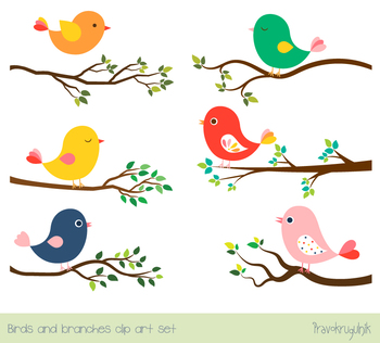 Cute color cliparts graphic freeuse library Cute color birds clipart set, Tree branches with green leaves, spring,  summer graphic freeuse library