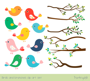 Cute color cliparts clipart library stock Cute color birds clipart set, Tree branches with green leaves, spring,  summer clipart library stock