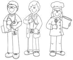 Cute community workers clipart black and white clip art royalty free Community Helpers Clipart Black And White | Writings and Essays Corner clip art royalty free
