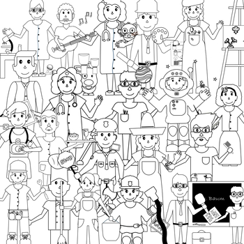 Cute community workers clipart black and white clipart free stock Jobs and Community Helpers Clipart with Black & White Images Included clipart free stock