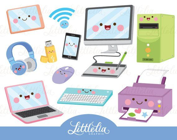 Cute computer clipart vector royalty free Technology kawaii clipart - computer clipart - 17047 | Products ... vector royalty free