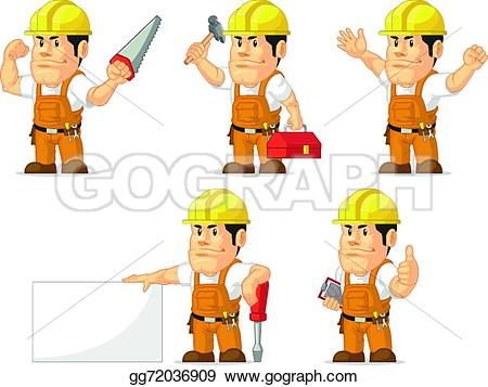 Cute construction site clipart banner black and white library Vector Art - Strong construction worker mascot. EPS clipart ... banner black and white library
