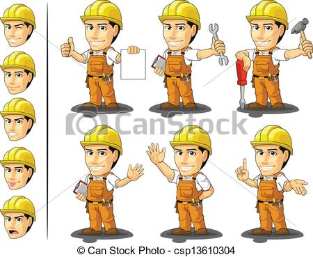 Cute construction site clipart image black and white download Vector Clipart of Industrial Construction Worker Masc - A vector ... image black and white download