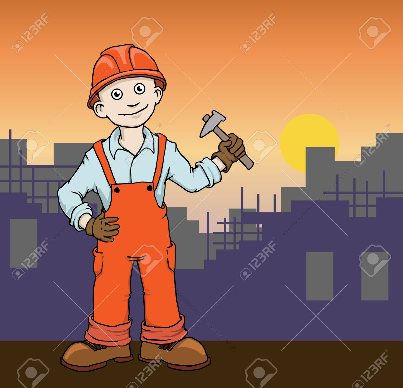 Cute construction site clipart graphic free download Cute Cartoon Construction Worker Repairman On The Building Site ... graphic free download