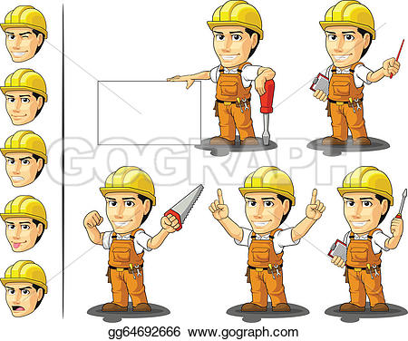 Cute construction site clipart svg library library Vector Illustration - Industrial construction worker masc. Stock ... svg library library