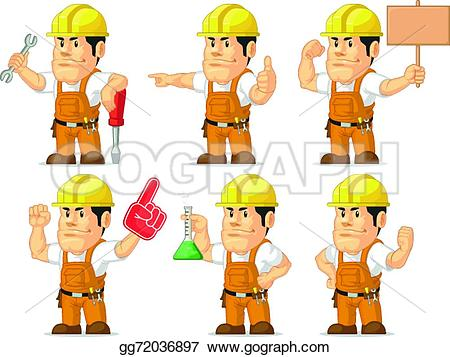 Cute construction site clipart clip free stock EPS Vector - Strong construction worker mascot 6. Stock Clipart ... clip free stock