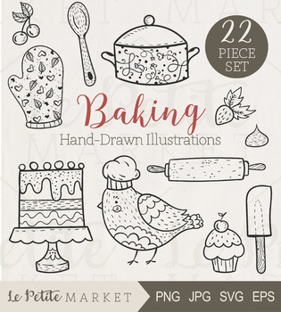 Cute cooking clipart black and white stock 22 Piece Baking and Cooking Clip Art Set, Baking Clipart, Cooking Clipart black and white stock