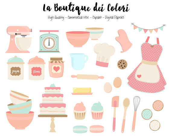Cute cooking clipart image free download Pink and blue Baking Clipart, Cute Digital Graphics PNG, Vintage ... image free download