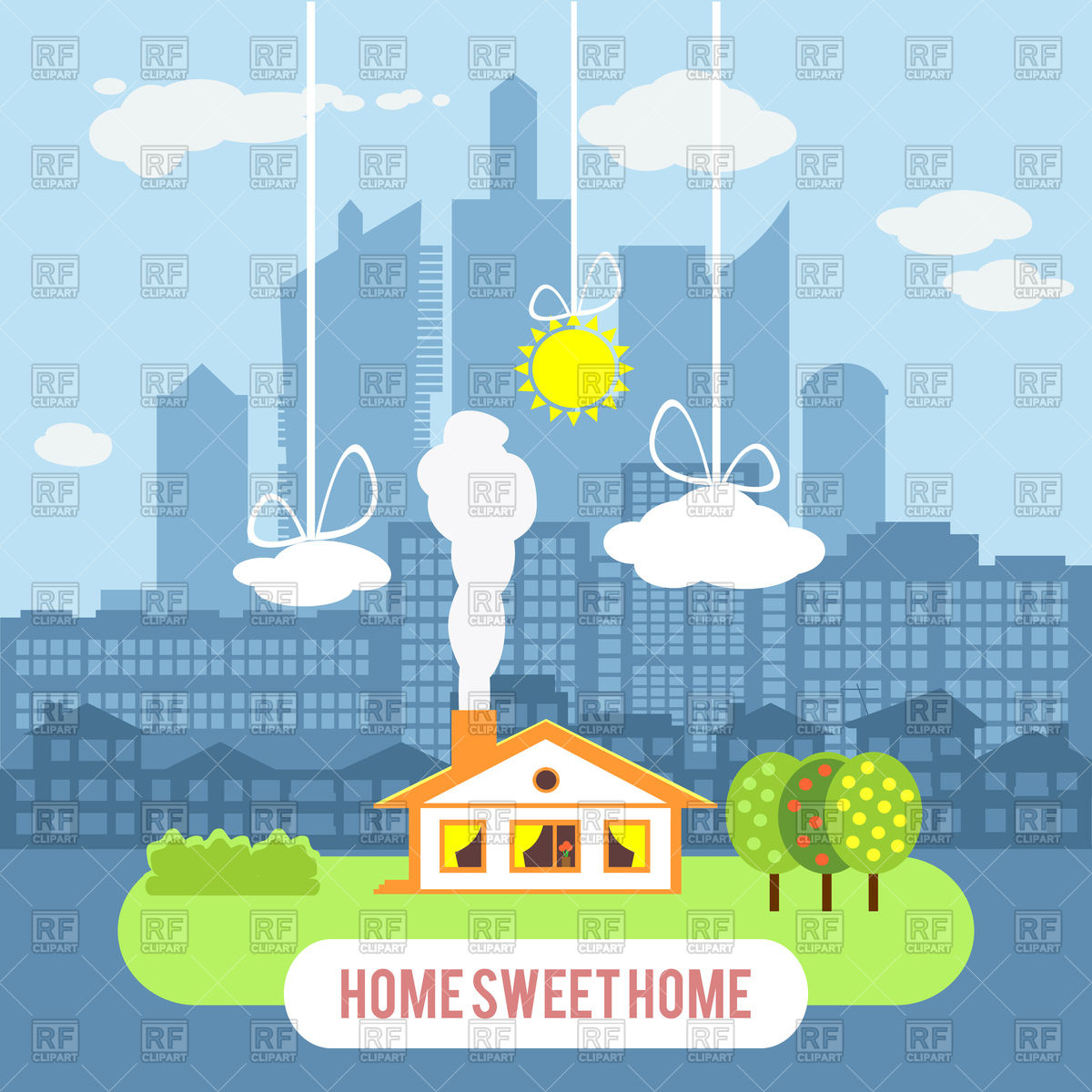 Cute country home sweet home clipart freeuse Cute country house and big industrial city Vector Image #101389 ... freeuse