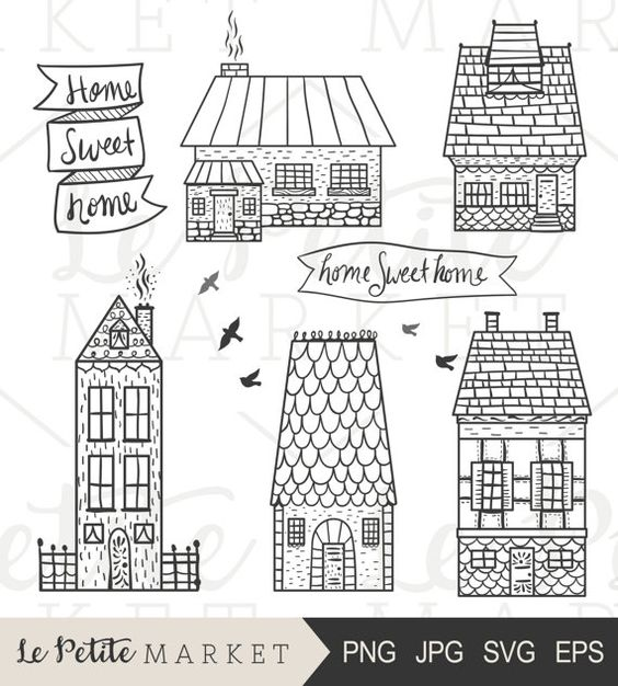 Cute cuntry home sweet home clipart picture freeuse Hand Drawn Homes Clip Art, Cute Homes Clipart, Doodle Houses, Hand ... picture freeuse