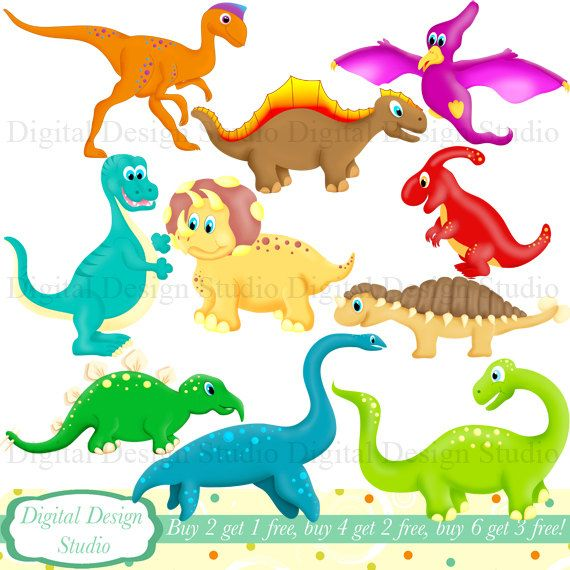 Cute Dinosaurs clip art set with FREE background. INSTANT DOWNLOAD ... jpg stock